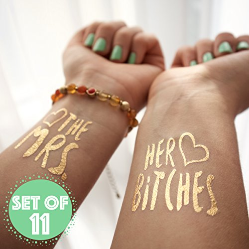 The Mrs. and Her Bitches Bachelorette Temporary Gold Metallic Tattoos Flash Tats, Set of - Skinny Sunglasses Faces For