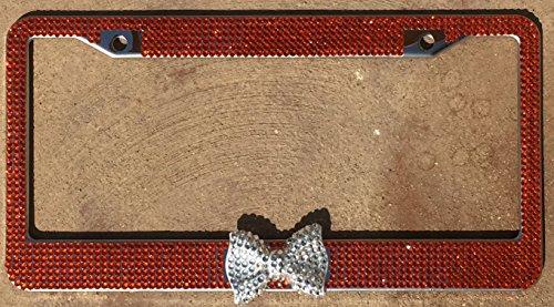 zusooz Orange Rhinestone License Plate Frame Holder with Crystal Bling Bow (Orange/Clear)