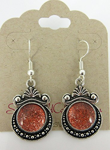 (Antiqued Silver-tone Orange Glitter Glass Dangle Earrings Hand-painted)