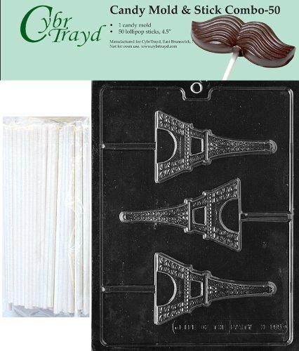 Cybrtrayd 45St50-M155 Eiffel Tower Chocolate Candy Mold with 50 Cybrtrayd 4.5'' Lollipop Sticks