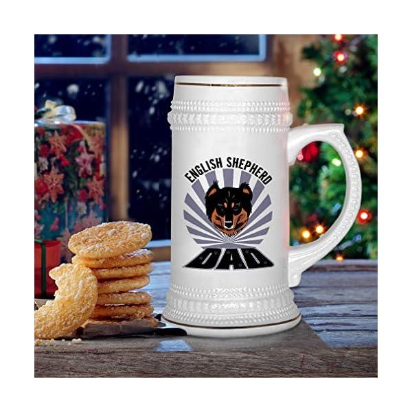 Custom Beer Mug Dad English Shepherd Dog Ceramic Drinking Glasses Beer Gifts White 18 OZ Design Only 6
