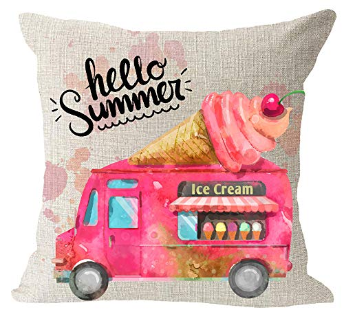 Hello Summer Pink Sweet Cool Ice Cream Truck Cherry Happy Summer Holiday Cotton Linen Square Throw Waist Pillow Case Decorative Cushion Cover Pillowcase Sofa 18