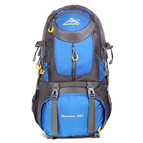 HWJIANFENG Hiking Backpack Travelling Backpack Camping Backpack Cycling Backpack Outdoor Sports Daypack Lightweight Rucksack Women Men 50L Blue For Sale