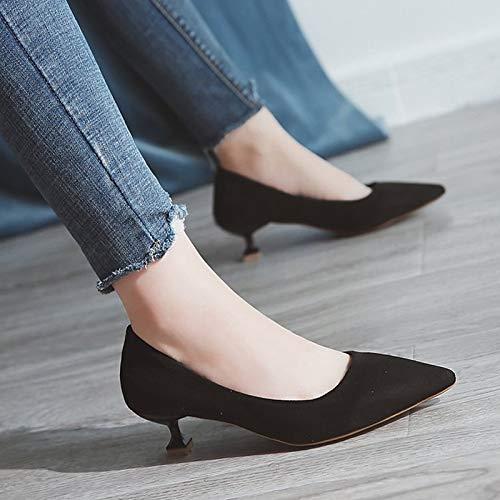 ZHZNVX Beige Basic Beige Heels Polyurethane Kitten Summer Shoes Toe Women's Red PU Pointed Blue Pump Heel qrqSg
