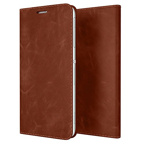 Xperia Z3 Case, Cellto [GLux] PU Prime Leather Wallet Case with 9H Tempered Glass Screen Protector Cover for Sony Xperia Z3 - Brown