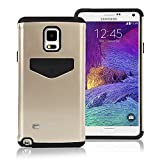 Galaxy NOTE 4 Case, [Heavy Drop Protection] Goospery® iPocket Bumper [TPU & Polycarbonate] Hybrid Case [Shock Absorption] Cover with Card Slot for Samsung Galaxy NOTE 4 [Galaxy NOTE IV] - Gold