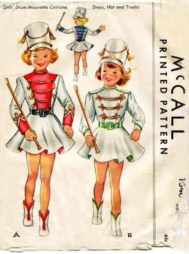 Costumes Vintage Majorette (McCall's 1546 Girls' Drum Majorette Costume - Dress, Hat and Trunks Costume Sewing Pattern Vintage)
