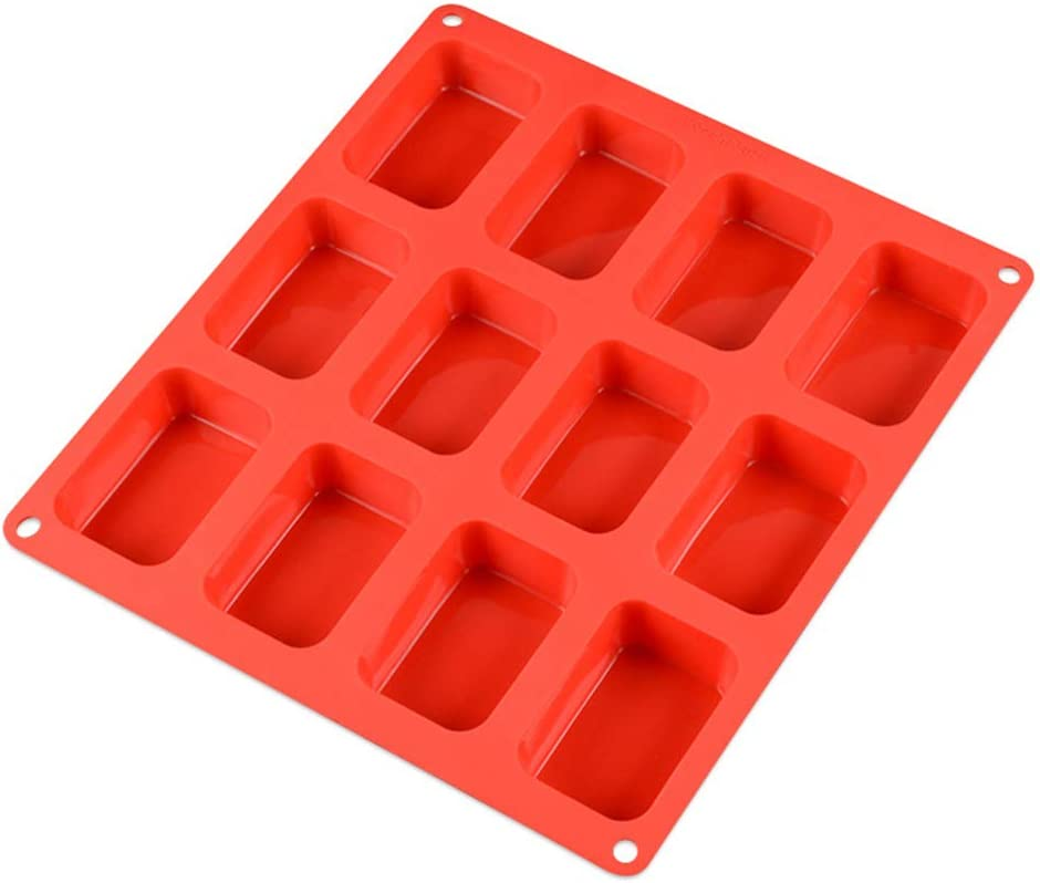 Cornbread Loaf 12-Cavity Petite Silicone Mold for Soap Cheesecake and More Random Color Pudding Muffin Brownie Bread 12 Cavity-Rectangle