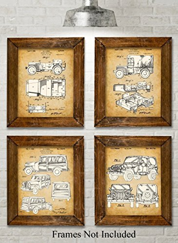 Original Jeep Patent Art Prints - Set of Four Photos (8x10) Unframed - Great Gift for Jeep Drivers -