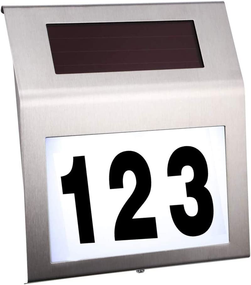 Solar Address Numbers,Solar Door Plaque Light, House Numbers Solar Powered Address Sign Stainless Steel with Waterproof LED for Outdoor Address Numbers and Home Garden Yard Street
