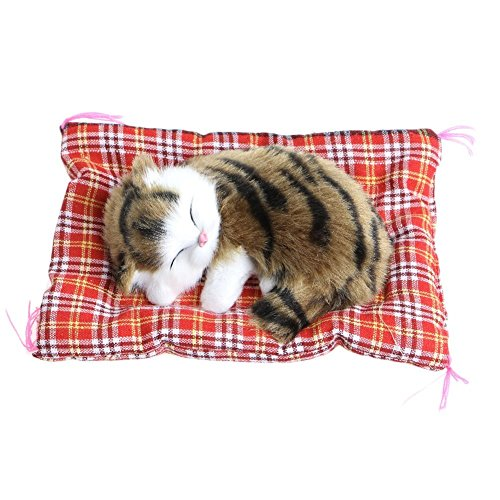 Nuobo Cute Sleeping Cat Press Simulation Sound Animal Stuffed Doll Toy with Sound Seat Cat for Car Ornaments (cao) by Nuobo