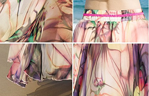 Imprim YKK Caf Femme Lger Soie Floral Smile Longue Mousseline Plage de Bohme Vacances Jupe RwWz14