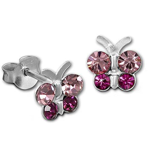 Teenie-Weenie Boucles d'oreilles - boucles d'oreilles papillon rose - argent sterling 925 pour enfants - SDO8014A