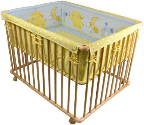 HONEY BEE Parc 100 x 75 cm avec-tapis de parc bébé à 3 hauteurs réglable, bleu clair/jaune 53516-D03x