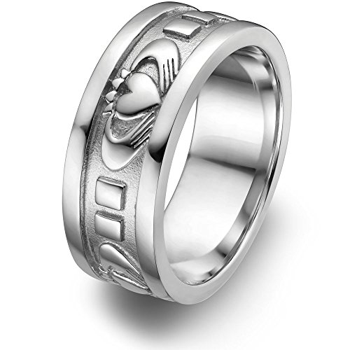 Sterling Silver Men's Claddagh Wedding Ring UMS-6343 Size: 11.5