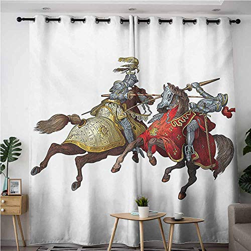 VIVIDX Home Curtains,Medieval Middle Age Fighters Knights with Ancient Costume Renaissance Period Illustration,Blackout Window Curtain 2 Panel,W72x96L,Multicolor -