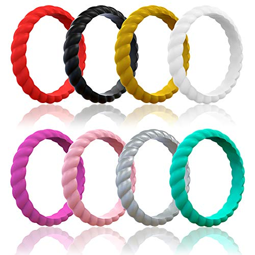 Lonrun (8pcs) Silicone Wedding Ring for Women, Thin and Braided Rubber Band, Antibacterial Comfortable Durable, Affordable Fashion Elegant, Skin Safe(size6)