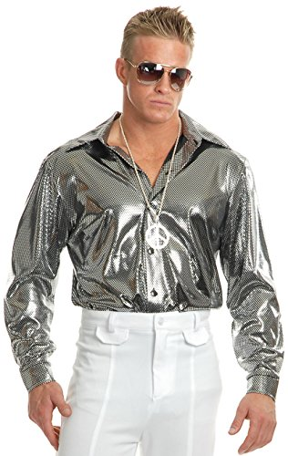 Mens Large 42-44 Metallic Silver Disco Costume Shirt