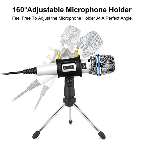 Professional Recording Microphone condenser With Stand,3.5mm Plug&Play Computer Microphone For PC Iphone Ipad Podcasting Phone Laptop Karaoke Youtube Singing Gaming by JINHI by JINHI (Image #2)