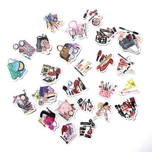 - JETEHO Cartoon Girl's Stuff Daily Life Makeup Stickers Set (72PCS) Decorative Sticker Decoration for Scrapbooking, Calendars, Arts,DIY Crafts