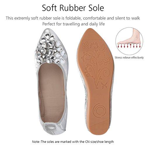 Chaussures Plat Cuir Femme D'affaires Décontractée En Travail Mariage Qimaoo Argenté De Ballerine IXqwE