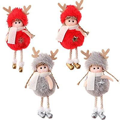 NSZMDFJ Lovely Christmas Plush Toy Doll Pendant (4-Count) Glasses (3-Count) Comfortable Plush Children's Gift for Christmas Tree Party,Pink: Sports & Outdoors
