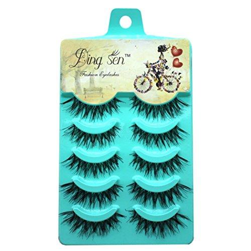 Iuhan 5Pairs Nautral Soft Long Makeup Cross Thick False Eyelashes Eye Lashes (Black)