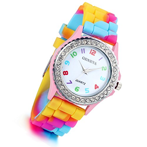 Ladies Rhinestone Rainbow Color Silicon Jelly Fun Play Watches for Women - Pink