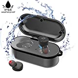 TOPCHANCES IP68 Waterproof Wireless Bluetooth Earbuds Deep Bass Stereo Sound Bluetooth Earphone with Mic Car Bluetooth Headset,Include Wireless Charging Box for iPhone 8 Samsung Galaxy S9 (M890)