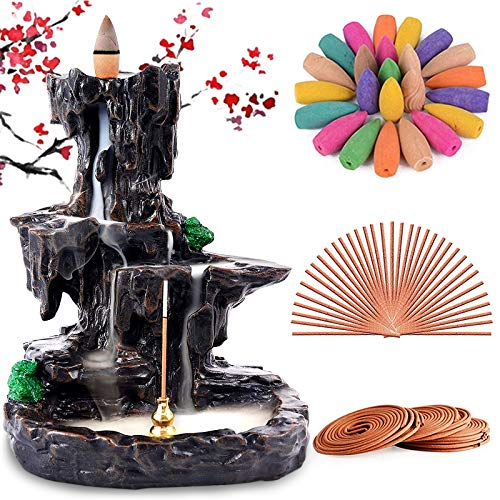 Rongyuxuan Backflow Incense Holder Waterfall Incense Burner, Mountain Tower Censer Aromatherapy Ornament Home Decor with…