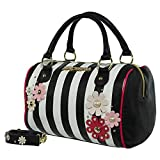 Betsey Johnson Medium Speedy Barrel Satchel Bag - Stripe
