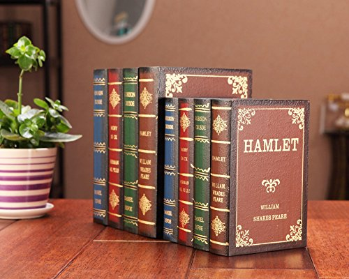 B&S FEEL Wooden Antique Book Box, Set of 2 (Fake Decor Books)