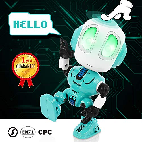 Peradix Mini Robot de Juguete,Robot Juguete Educativo con función de repetición de Voz Mini Robot Interactivo con Efectos Luces y Sonido Electronico Robot Regalo para Niños Toy Robot Juguete Azul
