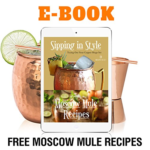 Moscow Mule Copper Mugs - Set of 4-100% HANDCRAFTED - Food Safe Pure Solid Copper Mugs - 16 oz Gift Set with BONUS: Highest Quality Cocktail Copper Straws and Jigger! by Benicci (Image #6)