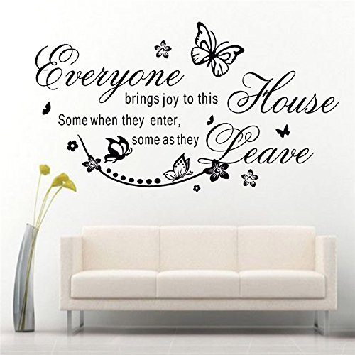 trfhjh Quotes Wall Sticker Home Art Butterfly Flowers Everyone Brings Joy to This House Quote Removable Wall Stickers Bedroom Home Decor Decals DIY Vinyl ArtFor Bedroom Living Room Kids Room by trfhjh