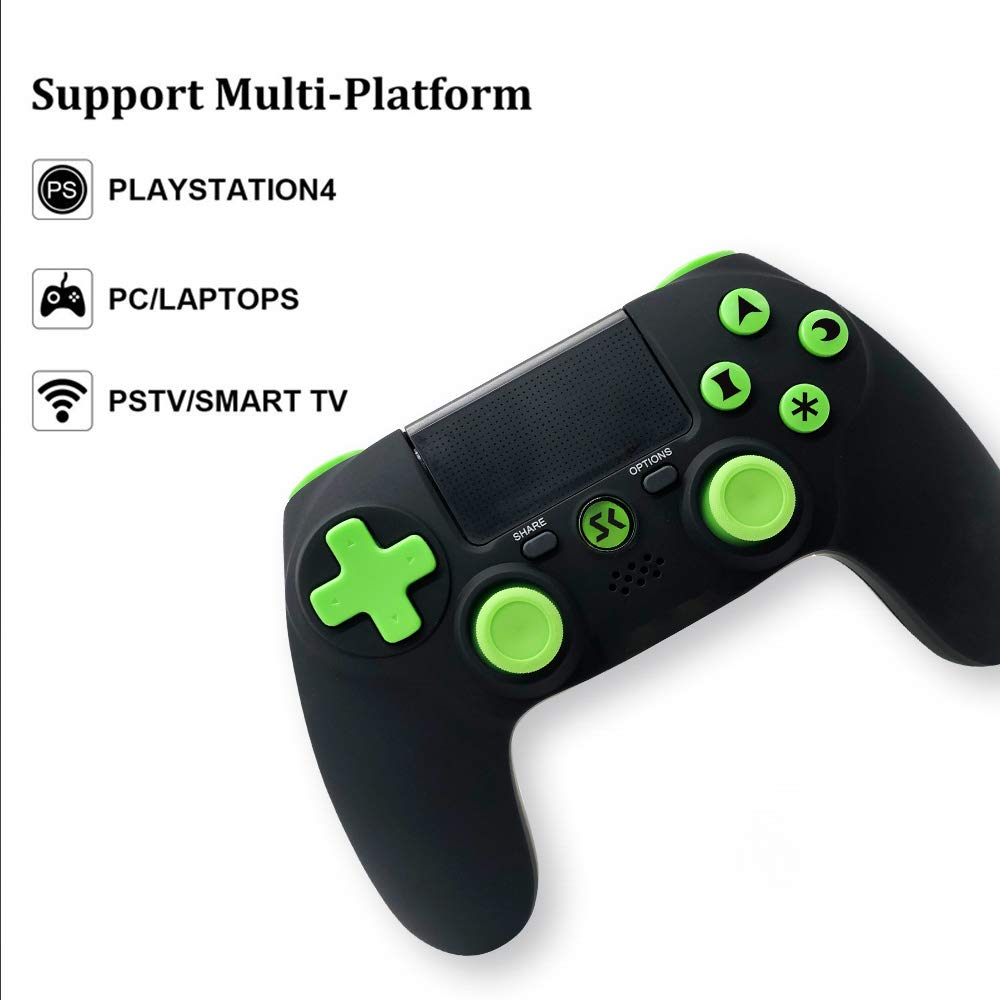PS4 Controller Wireless Dual Vibration Gamepad for Sony Playstation 4 Pro Gaming Remote Control Support PC (Black-Green)