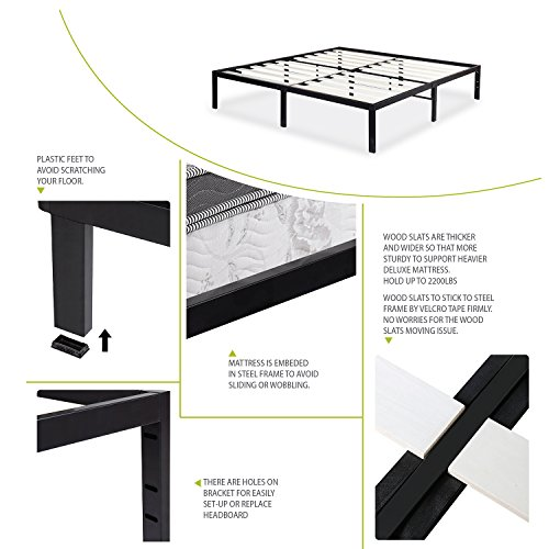SLEEPLACE SVC14BF06T 14 Inch ST-3000 Ultra 3 Inch Wood Slat Bed Frame, Twin by SLEEPLACE (Image #5)