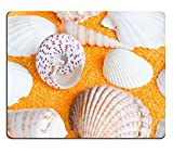 MSD Natural Rubber Mousepad Photo of lot seashells on yellow towel IMAGE 30760040