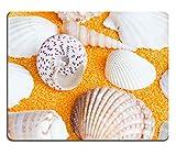 MSD Natural Rubber Mousepad Photo of lot seashells on yellow towel IMAGE 30760040
