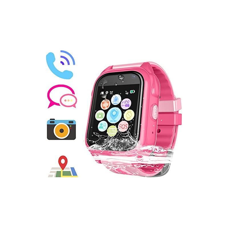 Kids Smart Watch for Girls Boys - IP67 Waterproof Children Smartwatch with GPS/LBS Position Tracker SOS Help Camera Anti-Lost Math Game Calling Phone Watch (DXS8-Pink)