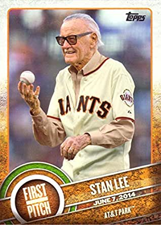 2015 Topps First Pitch Fp 21 Stan Lee Baseball Card Marvel Comic Book Writer