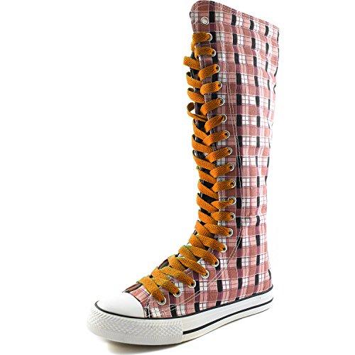 Dailyshoes Damesschoenen Medium Kalf Lange Laarzen Casual Sneaker Punk Flat, Roze Wht Geruite Laarzen, Zoet Oranje Kant