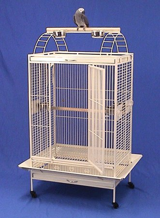 Lani Kai Lodge Playtop Bird Cage with Stand - 32'' X 22'' X 64'' - Eggshell Vein by BirdCages4Less