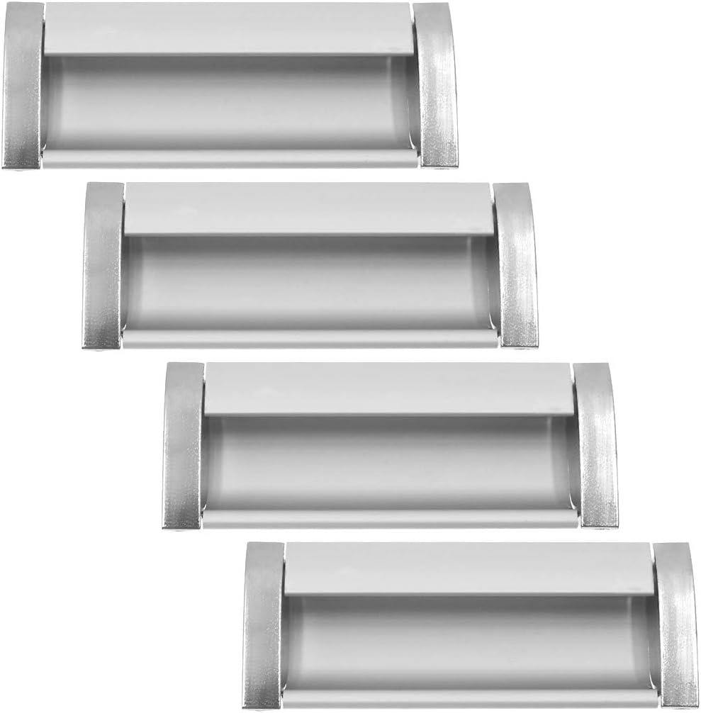 BTMB 4pcs Rectangular Flush Recessed Sliding Door Pull Handles Hidden Concealed Pull Handle Brushed Nickel Aluminum Alloy(96MM Length)