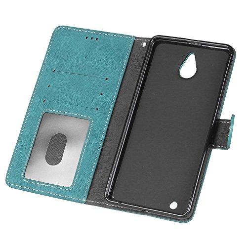 YHUISEN Lumia 850 caso, estilo retro de cuero sólido de alta calidad de cuero PU caja de la cartera Flip Folio cubierta de la caja de protección con ranura para tarjeta / soporte para Microsoft Nokia  Blue