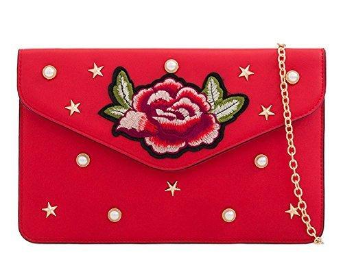 Rouge Small DIVA Femmes EMBELLISSEMENT cuir pochette main broderie Sac Rouge émaillé simili à NEUF florale haute 'S pour R5xqvawZ