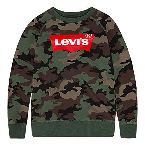 Levi's Boys' Big Crewneck Sweatshirt, Cypress Camo, L
