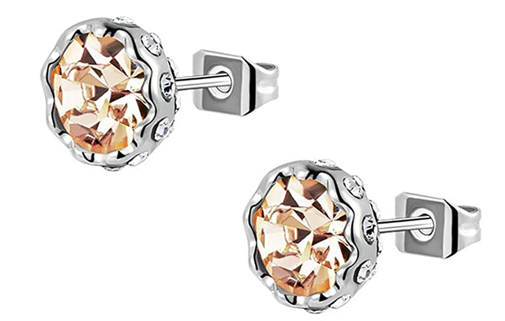 Anazoz Gold Plated Womens Stud Earring White Gold Snow Lotus Crystal Earring Birthday AP384