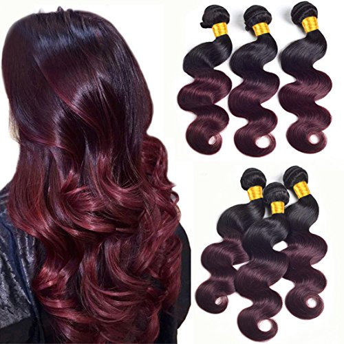 Two Tone Ombre Hair Extensions Weaves Bundles 8a Brazilian Peruvian Virgin Hair Bundles Body Wave Sew In Human Hair 3 Bundles Wet And Wavy Double Weft 1b/99j 1b To Burgundy 100g/Pcs(18 20 22inch) (Wet And Wavy Human Hair Sew In)