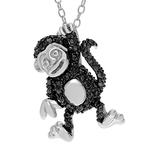 Brinley Co. Sterling Silver Black Diamond Accent Hanging Monkey Necklace, 18 in. (Silver Monkey Sterling)